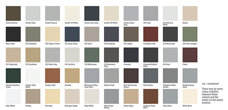 security screen colour swatches